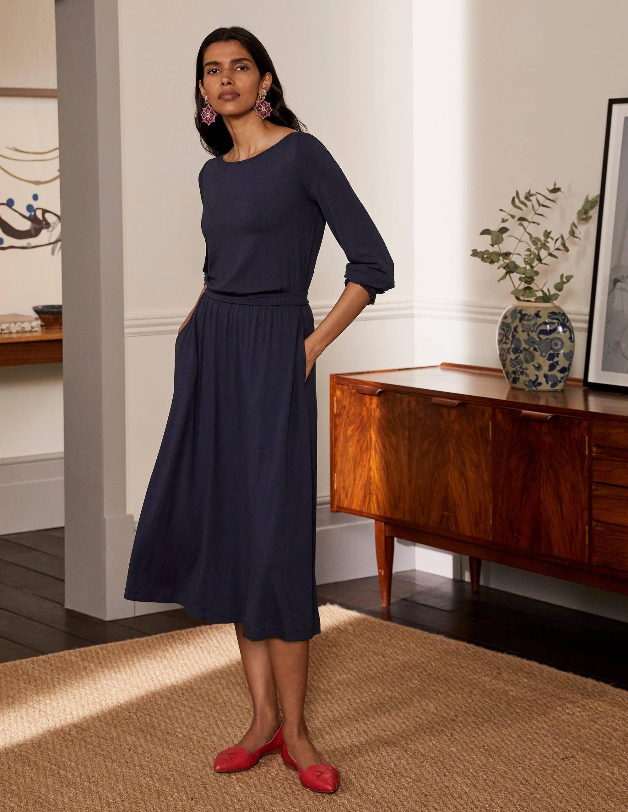 Boden Evelyn Jersey Midi Dress - Navy