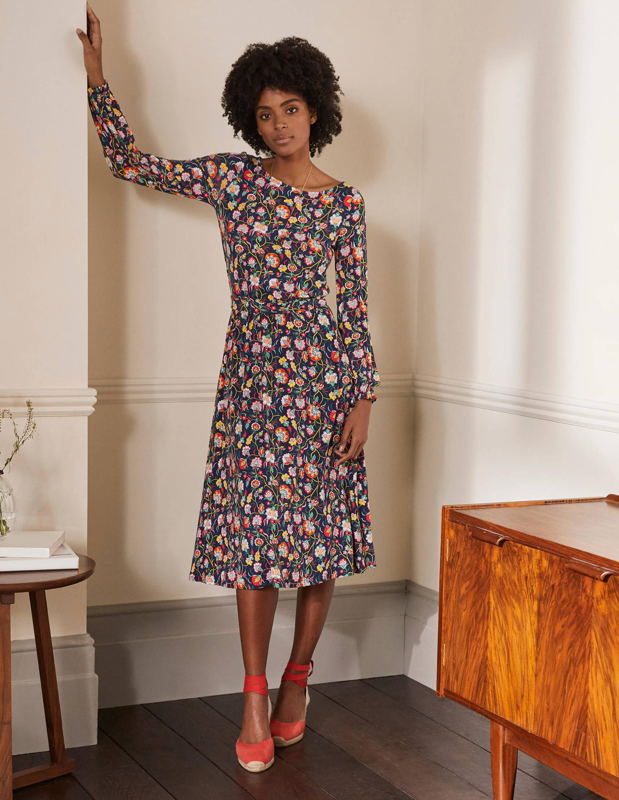 Boden Evelyn Jersey Midi Dress - French Navy, Opulent Floral