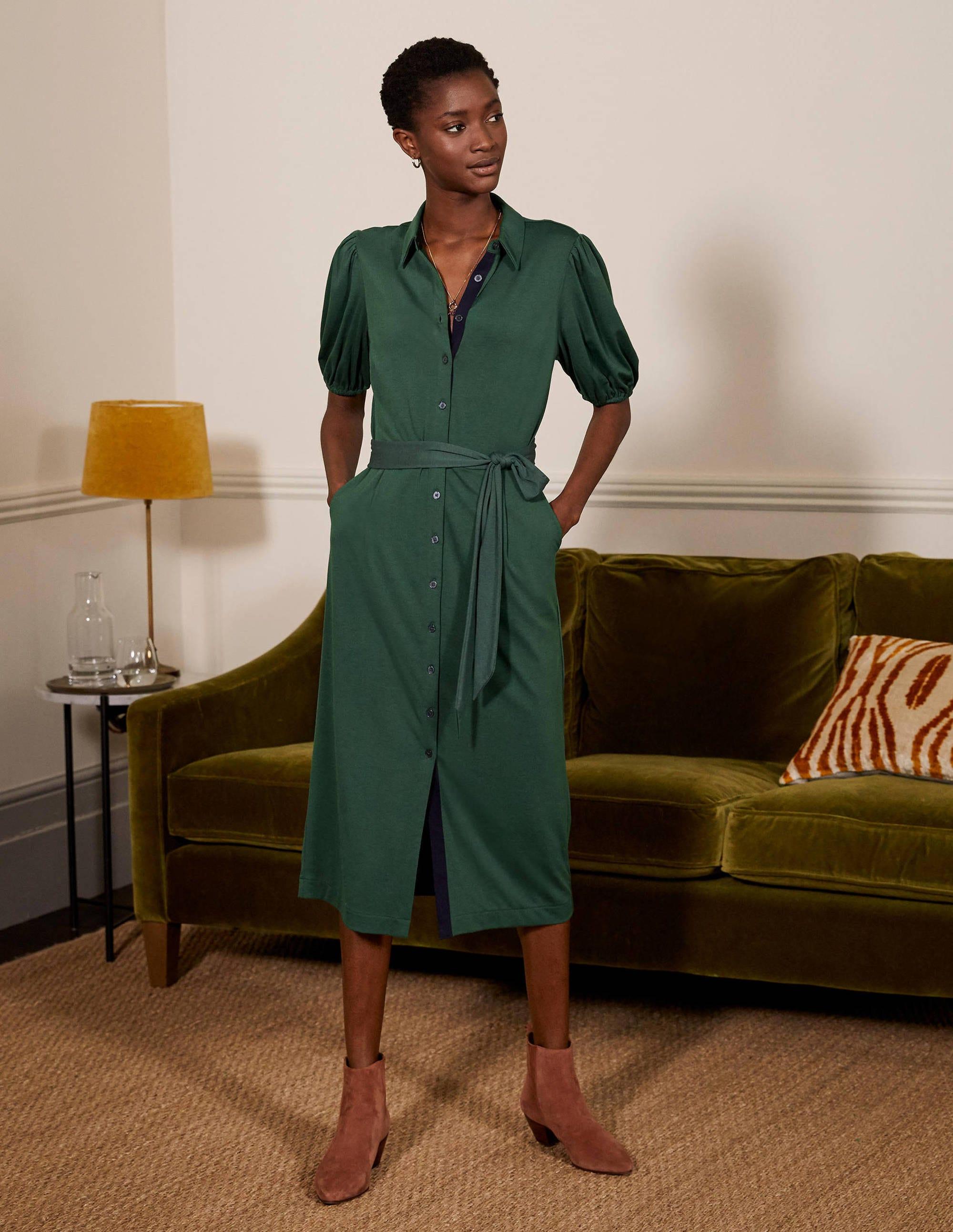 Boden Puff Sleeve Jersey Shirt Dress - Wellington Green
