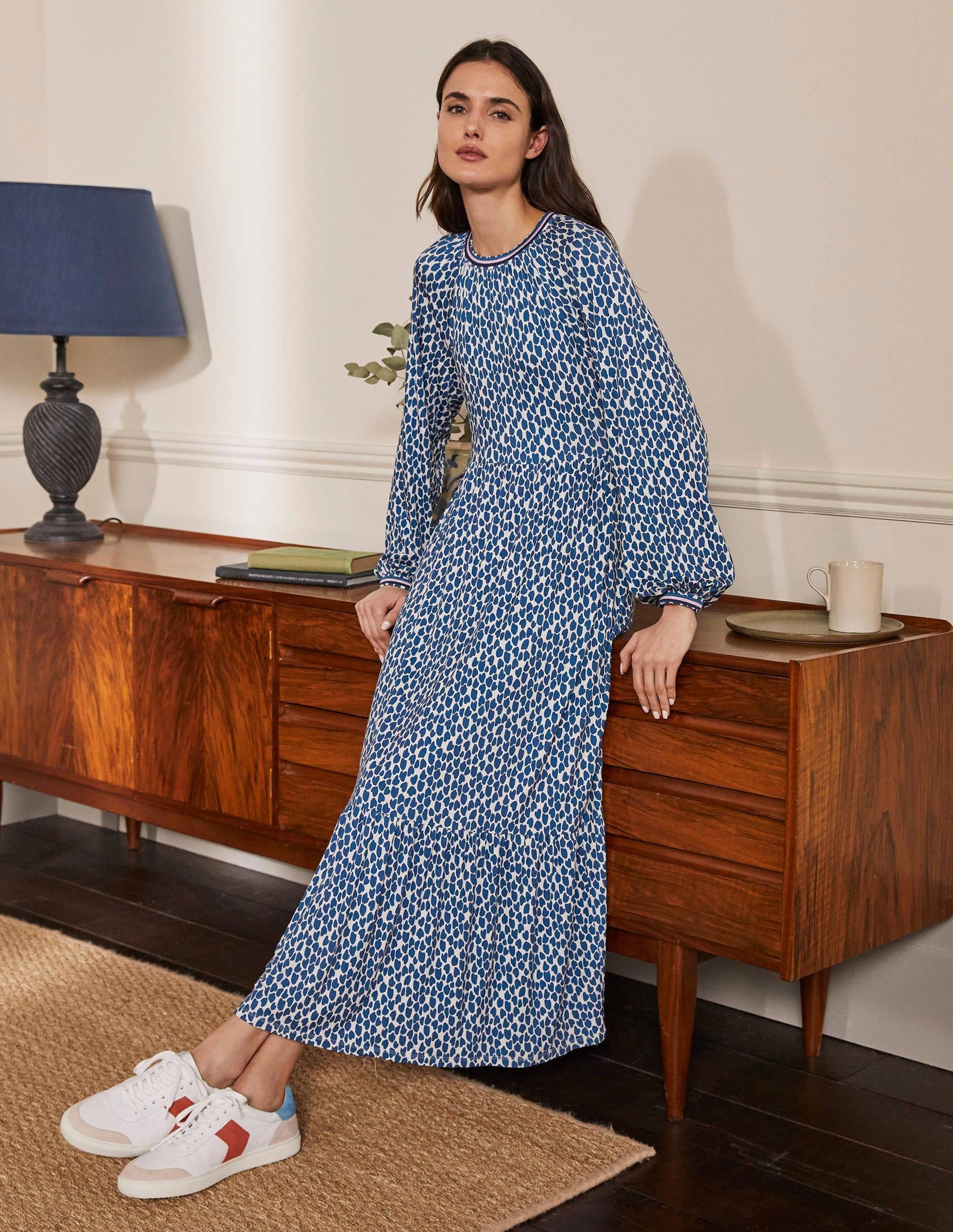 Boden Embroidered Jersey Midi Dress - Galaxy Blue, Cheetah Geo