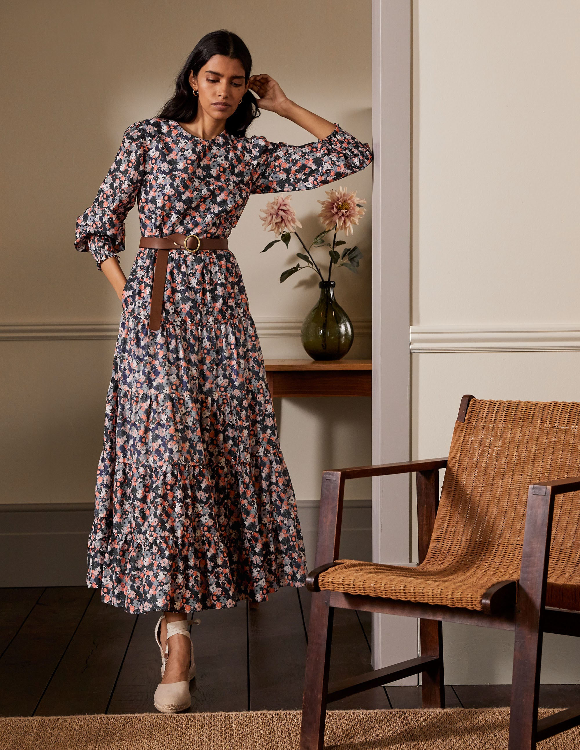 Boden Tiered Maxi Dress - Cobble Grey, Paintbox Ditsy