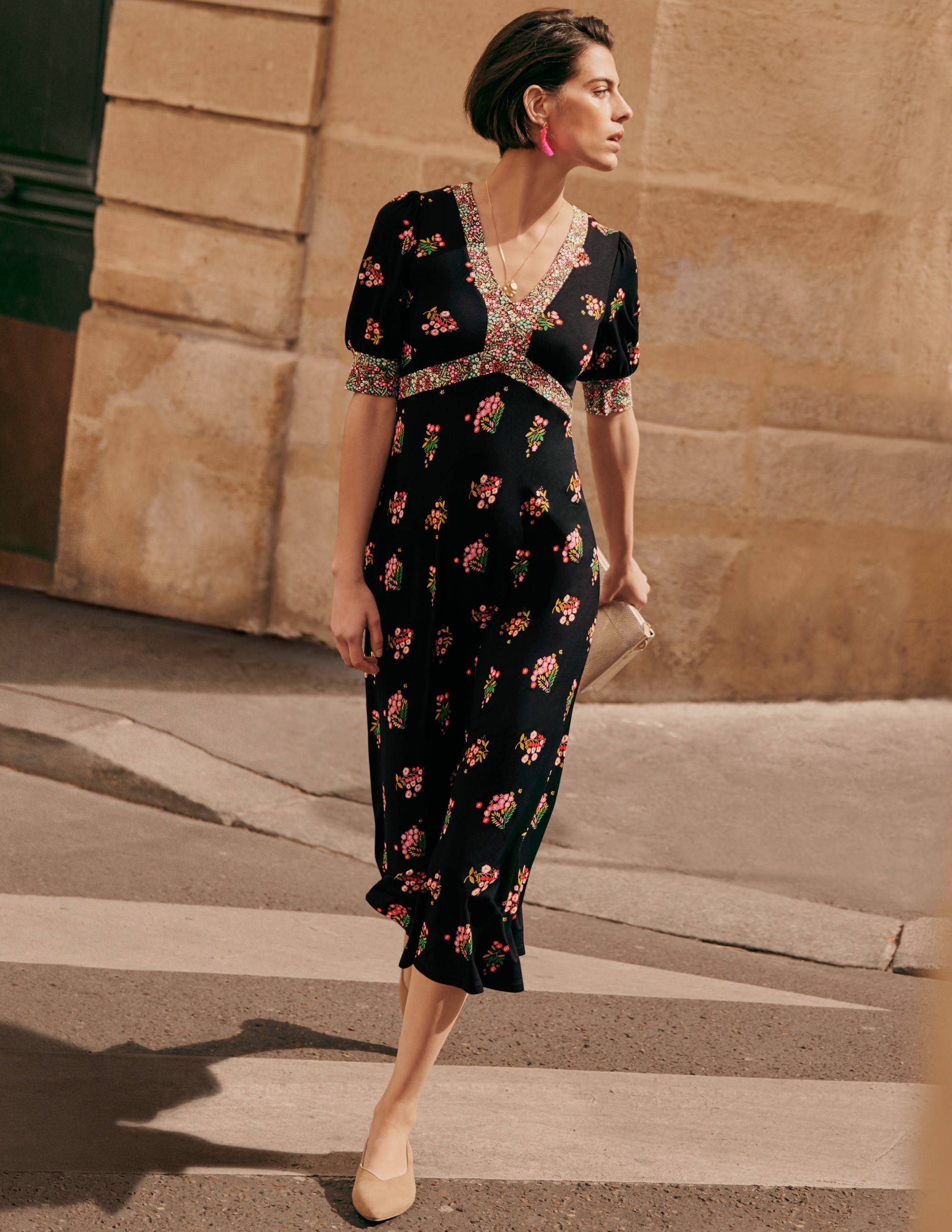 Boden Eva Jersey Midi Dress - Black, Delicate Sprig