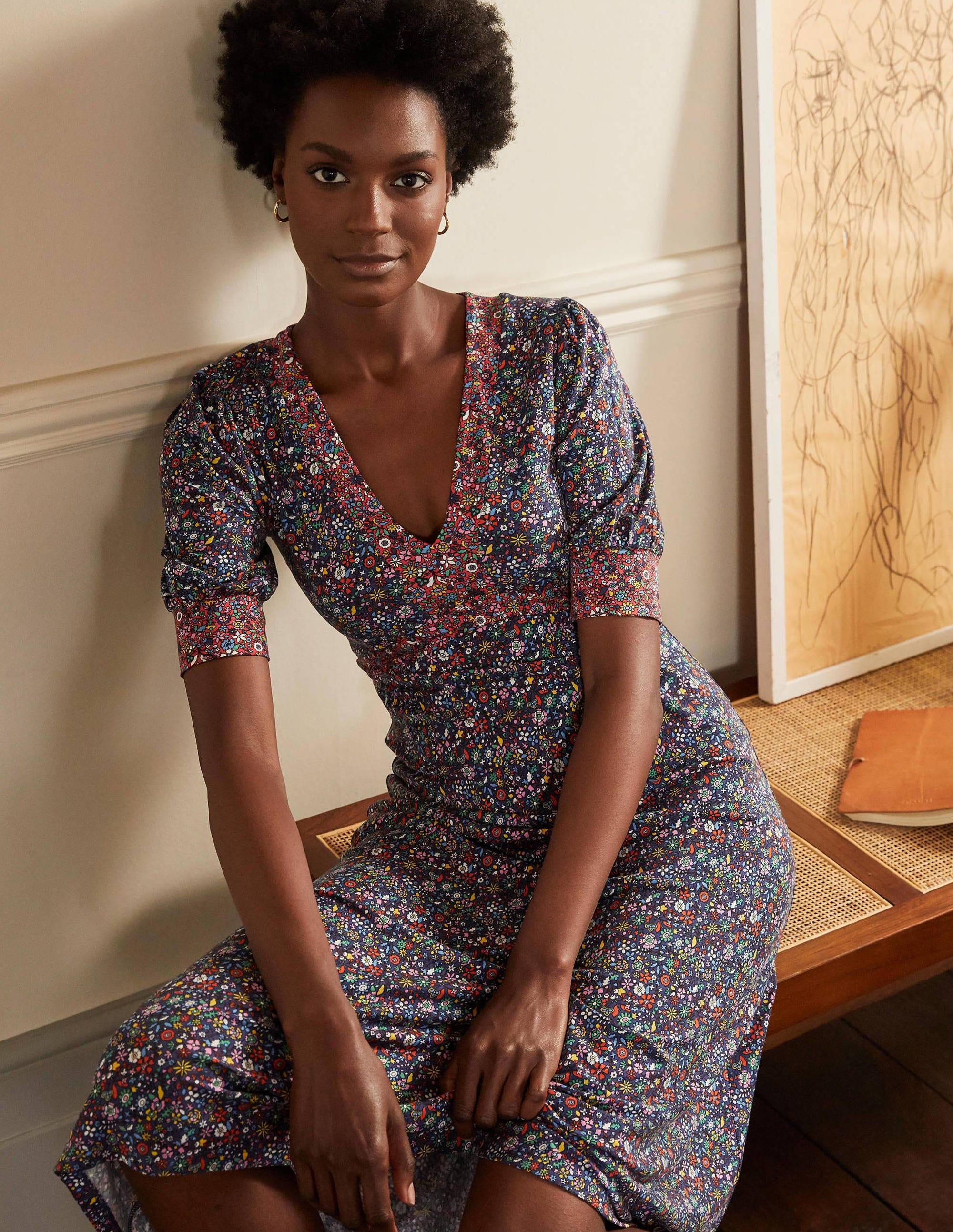 Boden Eva Jersey Midi Dress - Mariner Blue, Prairie Floral