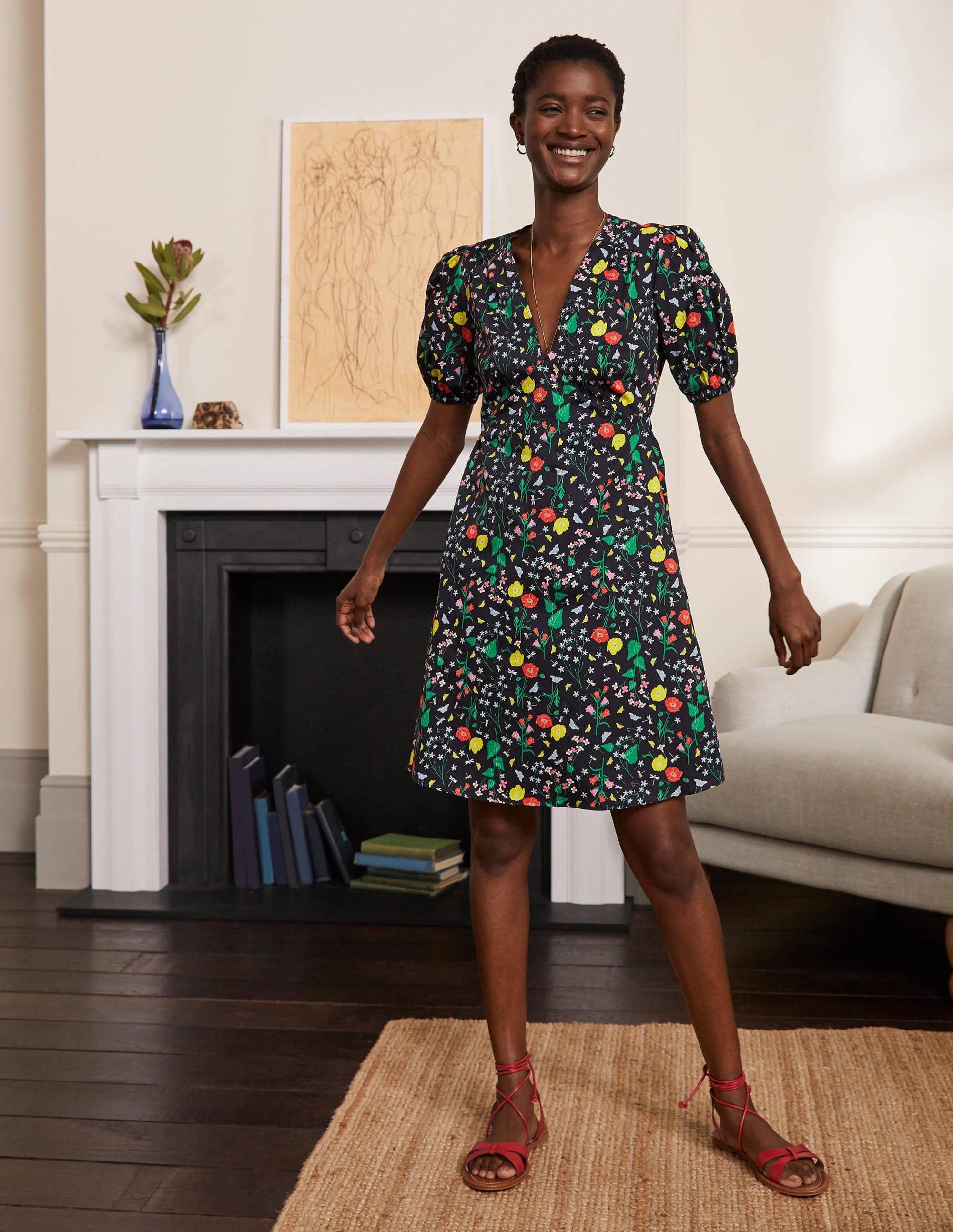 Boden Puff Sleeve Cotton Tea Dress - French Navy, Butterfly Garden