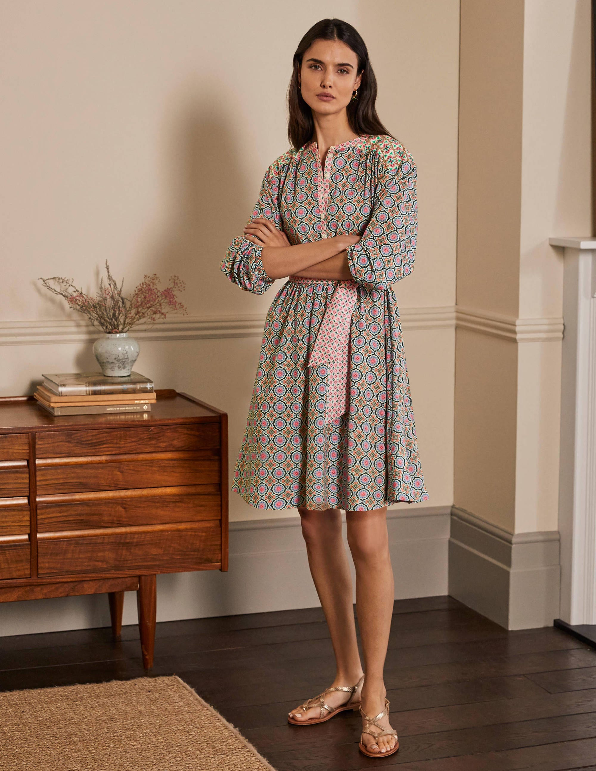 Boden Belted Cotton Dress - Ivory, Mosaic Tile