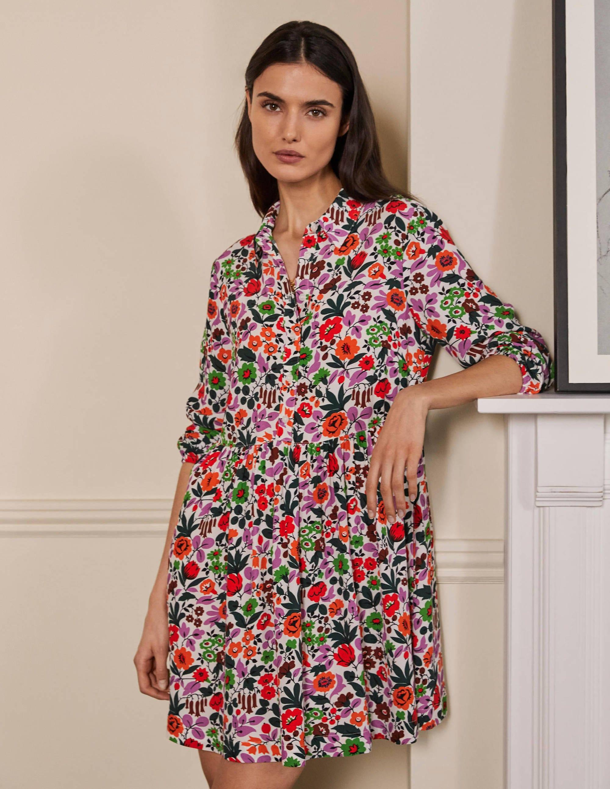 Boden Blouson Sleeve Shirt Dress - Ivory, Floral Forest