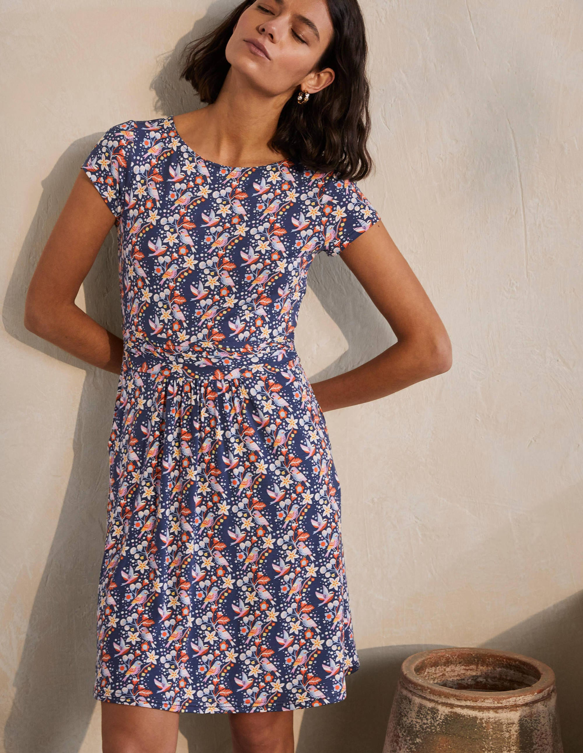 Boden Amelie Jersey Dress - Night Blue, Pretty Bird