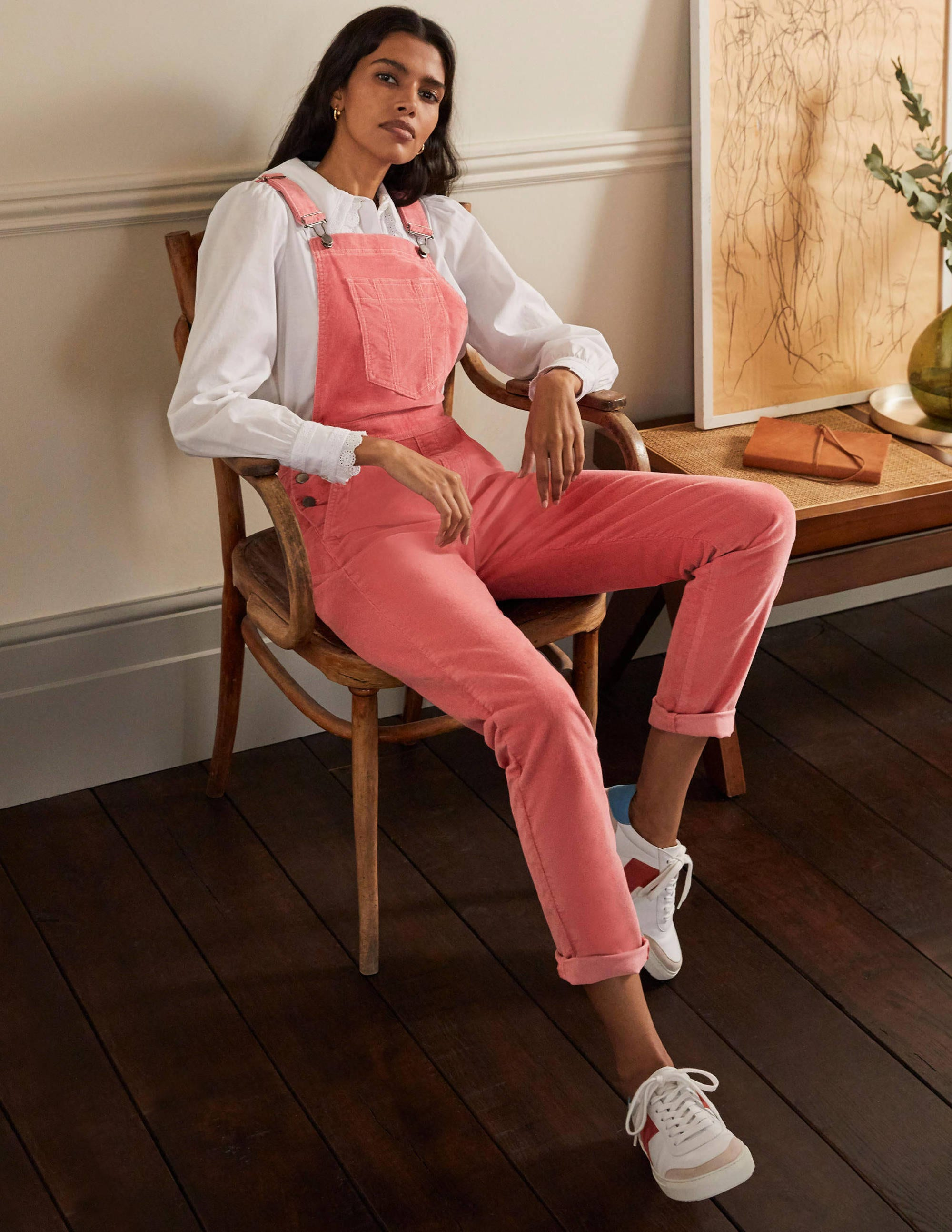 Boden Girlfriend Overalls - Dusty Red Cord