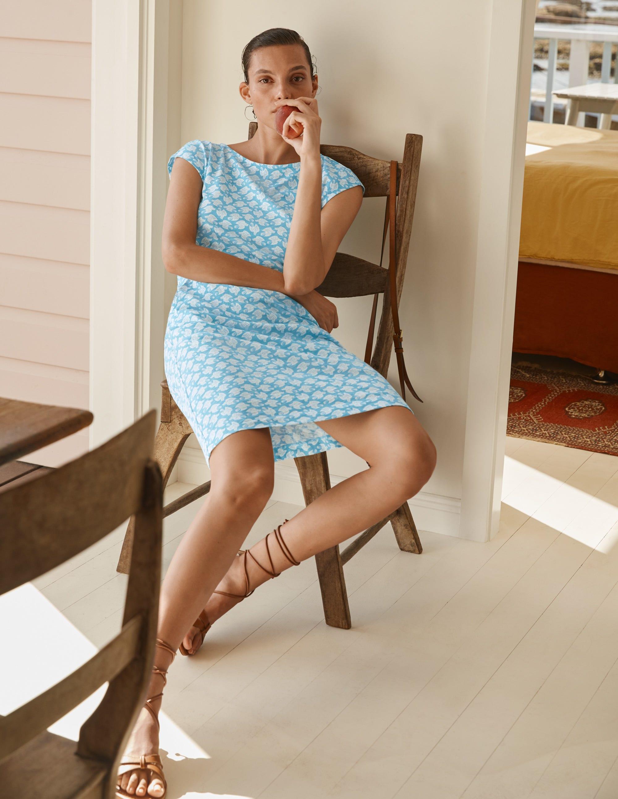 Boden Florrie Jersey Dress - Dawn Blue, Bird Tile