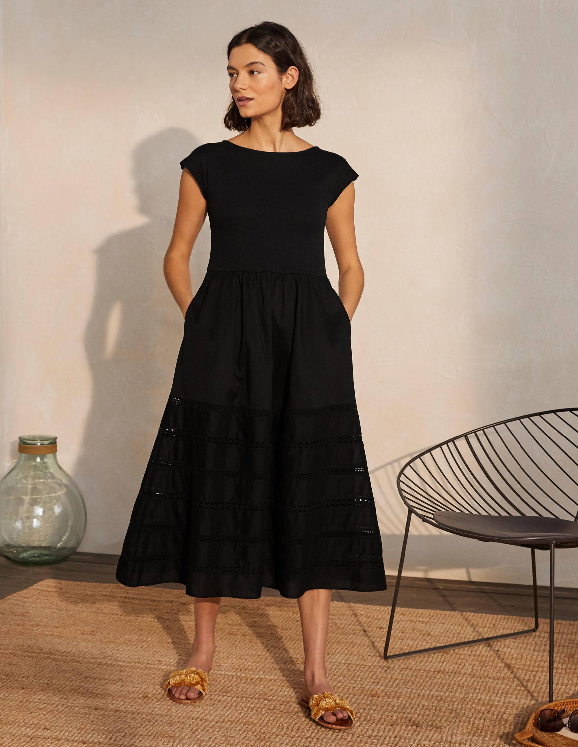 Boden Woven Mix Trim Detail Dress - Black