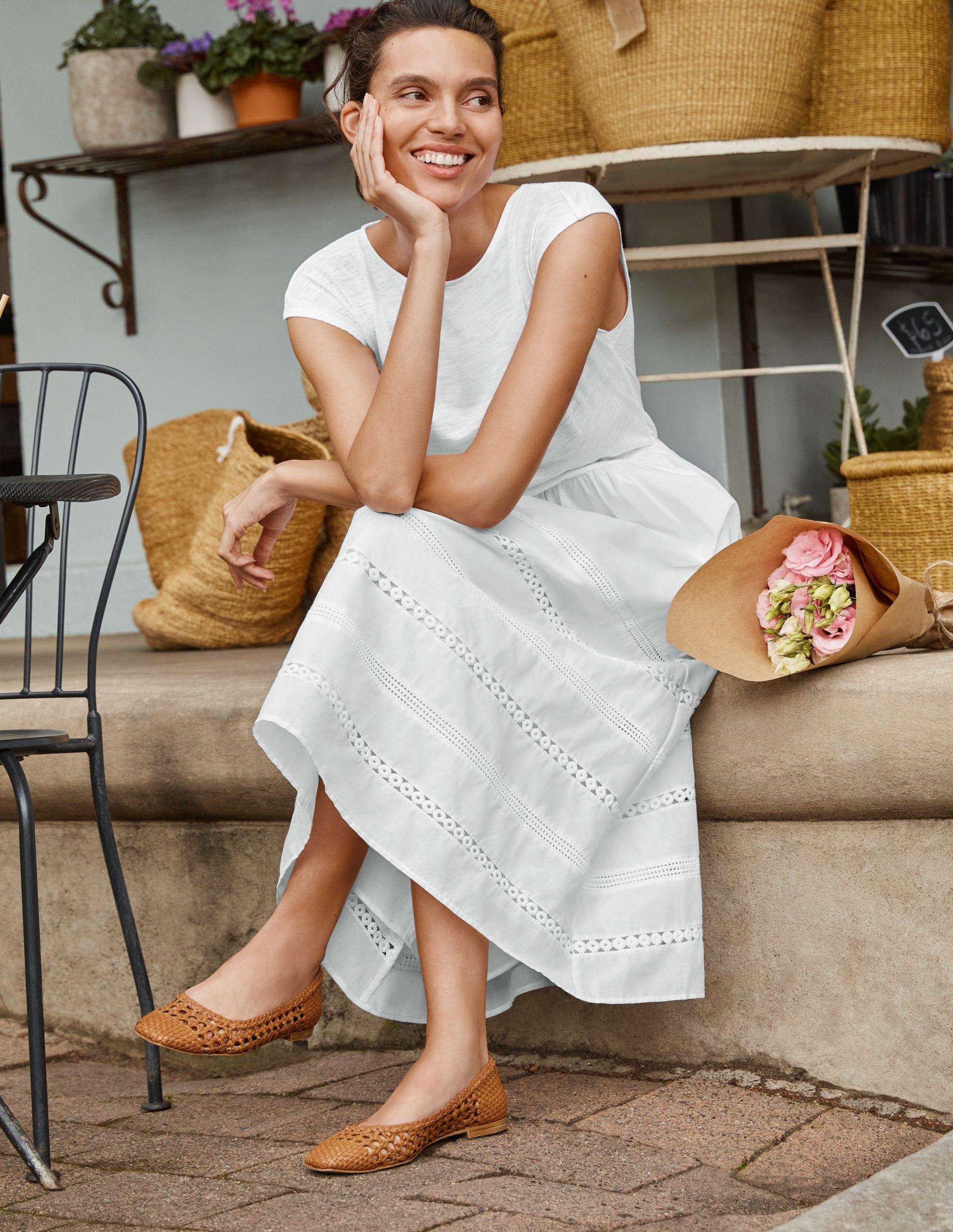 Boden Woven Mix Trim Detail Dress - White