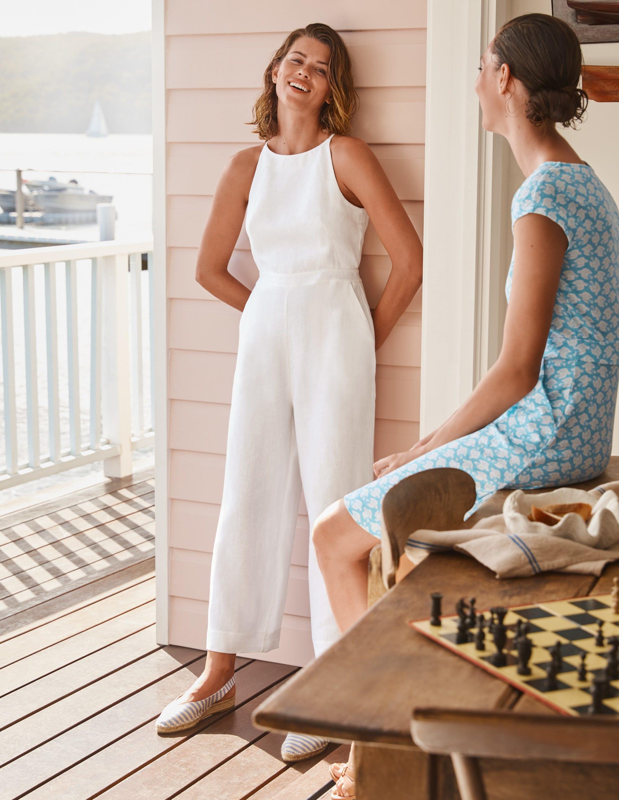 Boden Halterneck Linen Jumpsuit - White