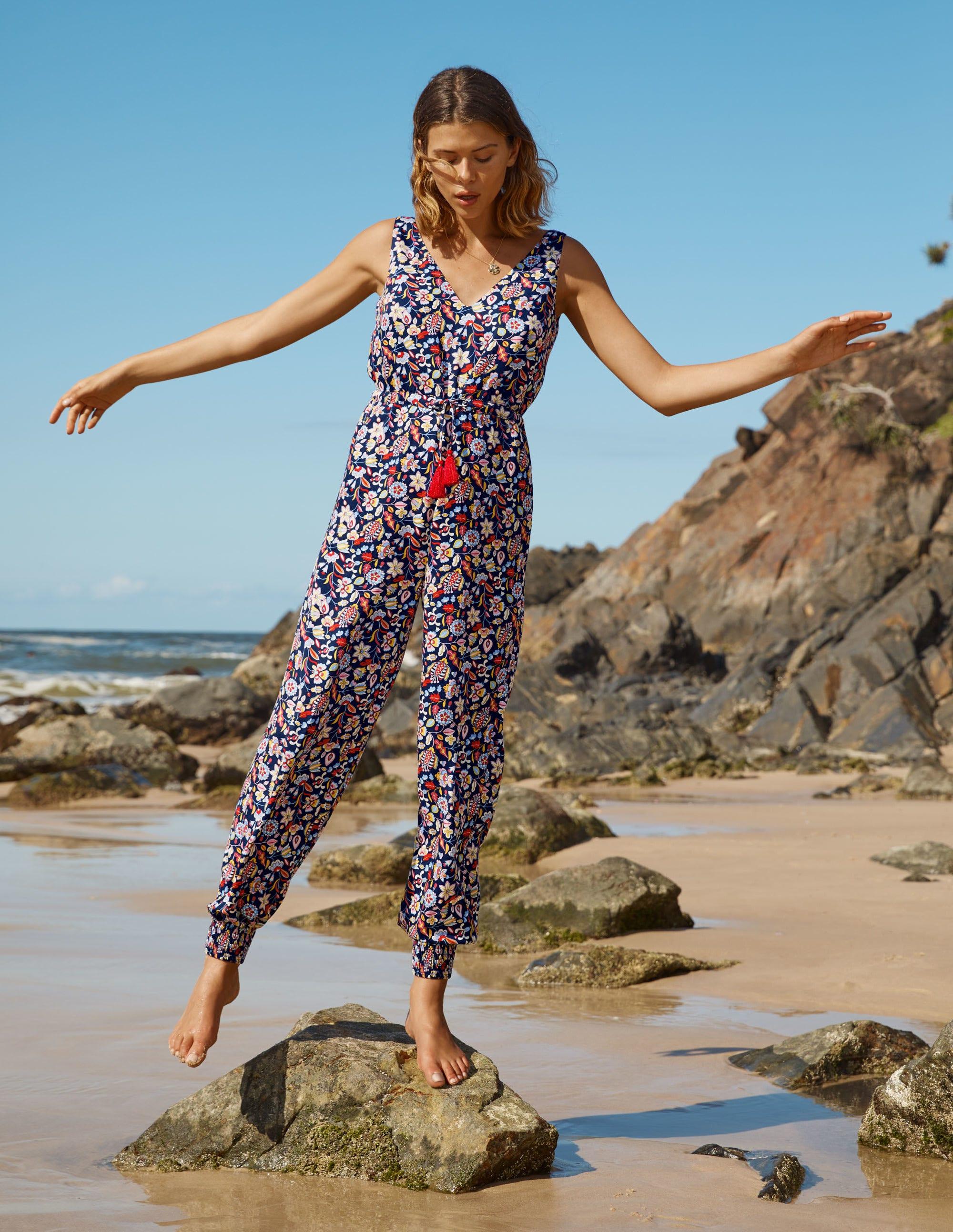 Boden Cecilia Jumpsuit - Navy, Kaleidoscopic Floral