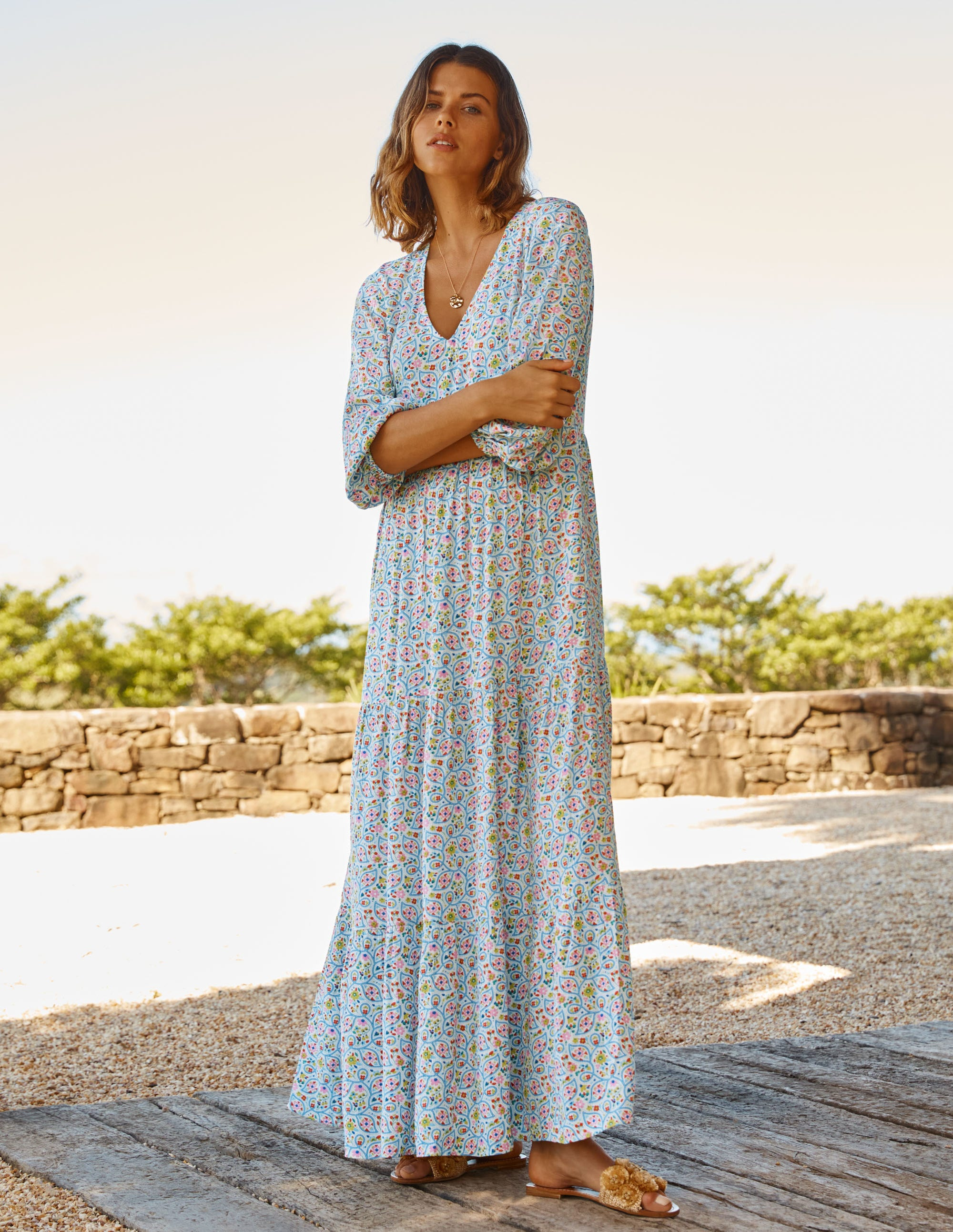 Boden Blouson Sleeve Maxi Dress - Ivory, Leafy Floral