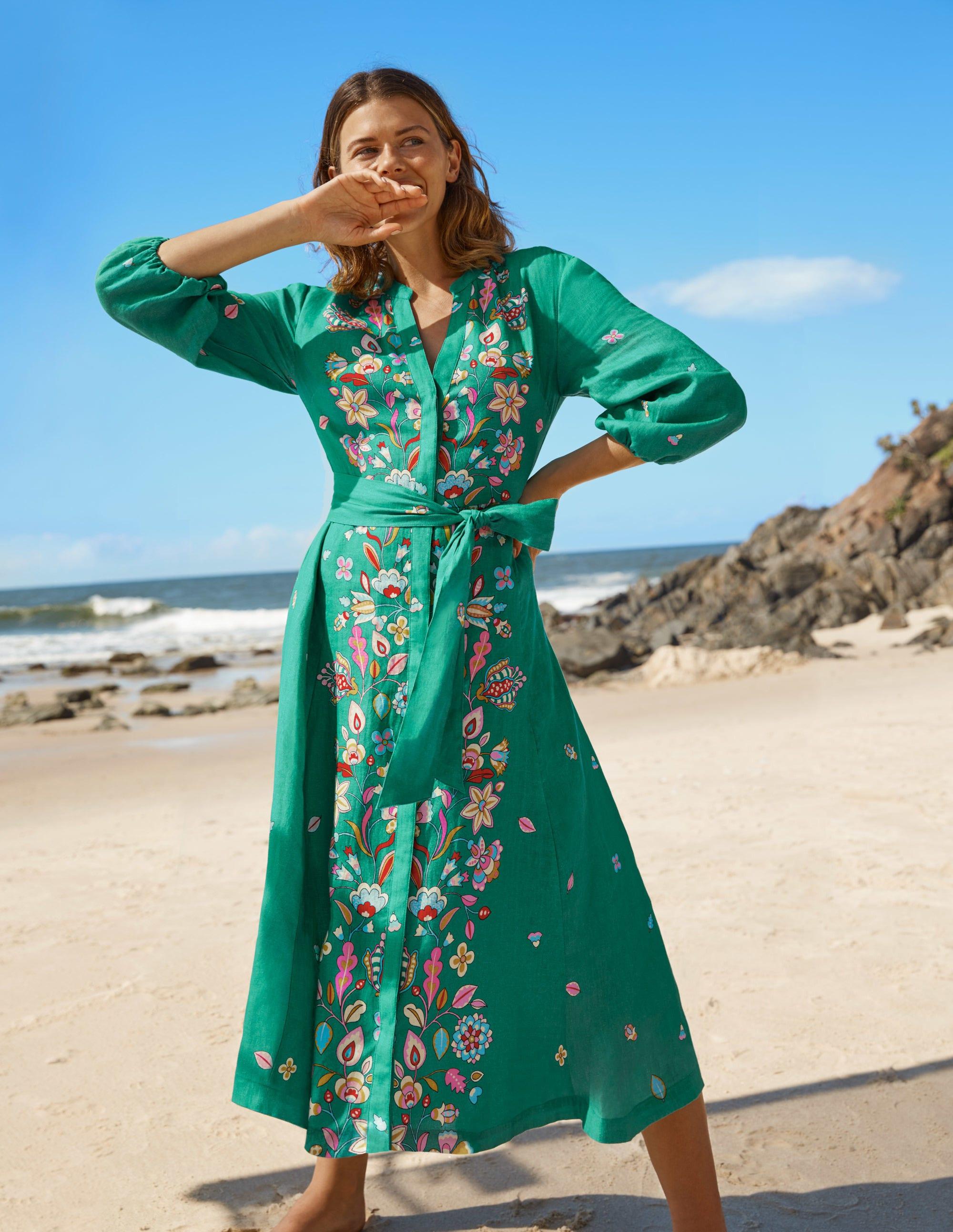 Boden Addie Linen Midi Dress - Leafy Green, Placement Print