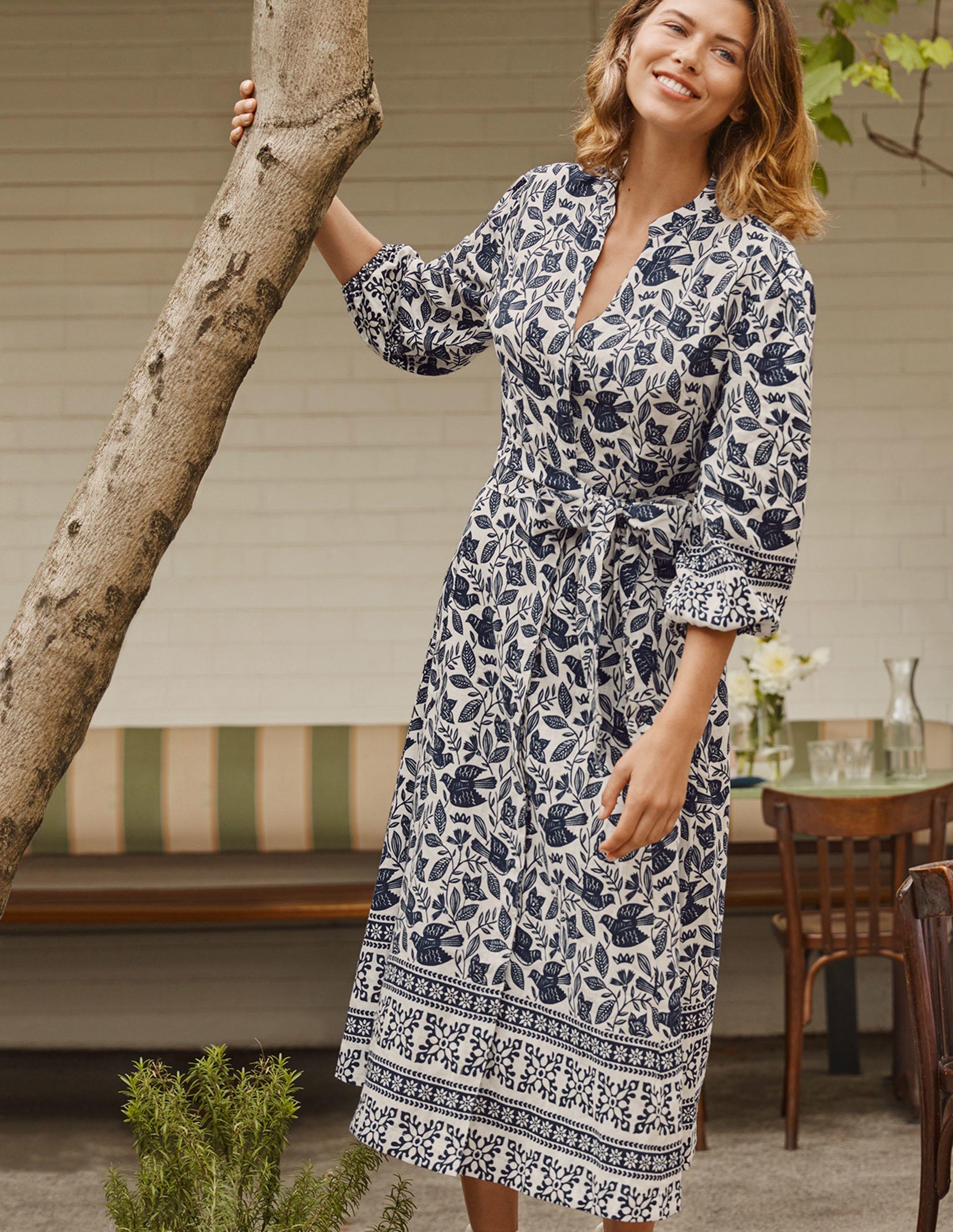 Boden Addie Linen Midi Dress - Ivory, Meadow Flight