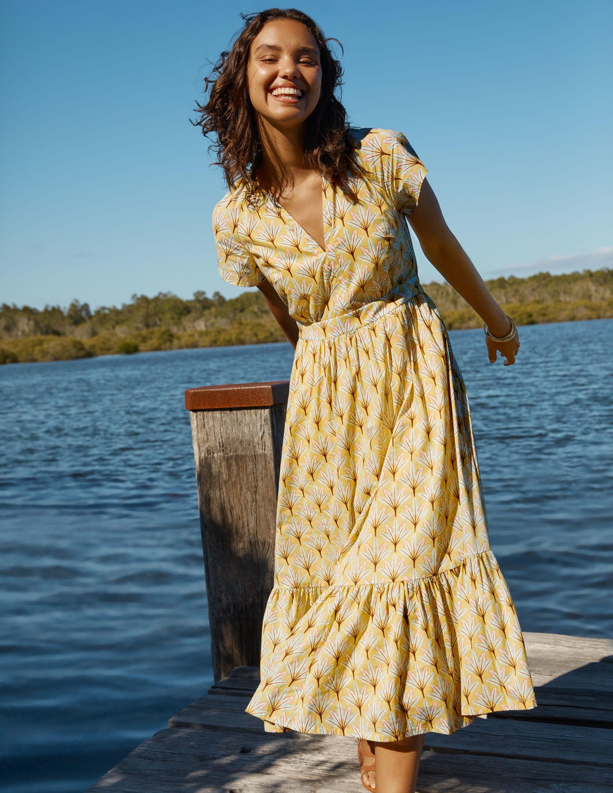 Boden Bernadette Cotton Midi Dress - Corn Yellow, Intricate Leaf