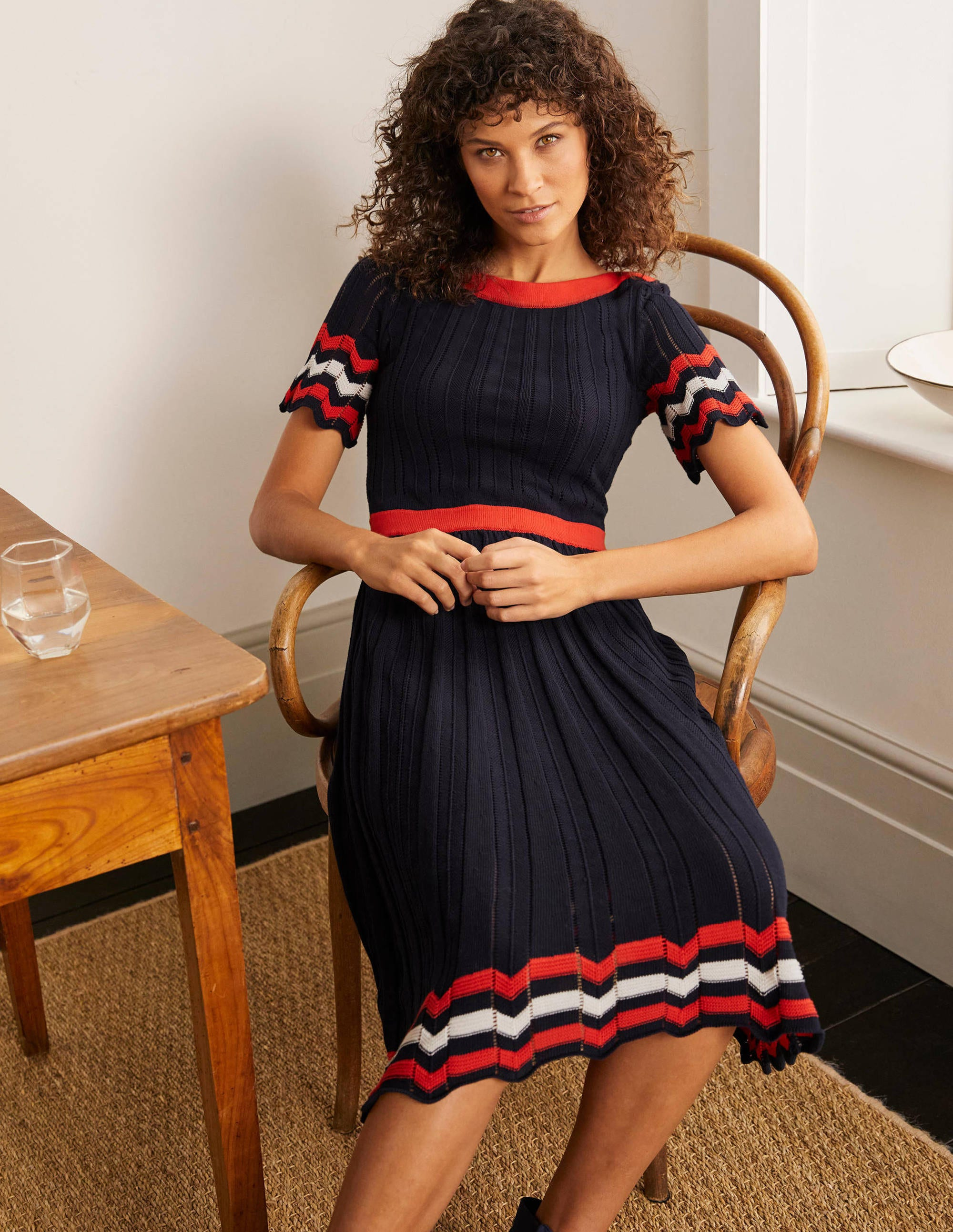Boden Agnes Pointelle Dress - Navy