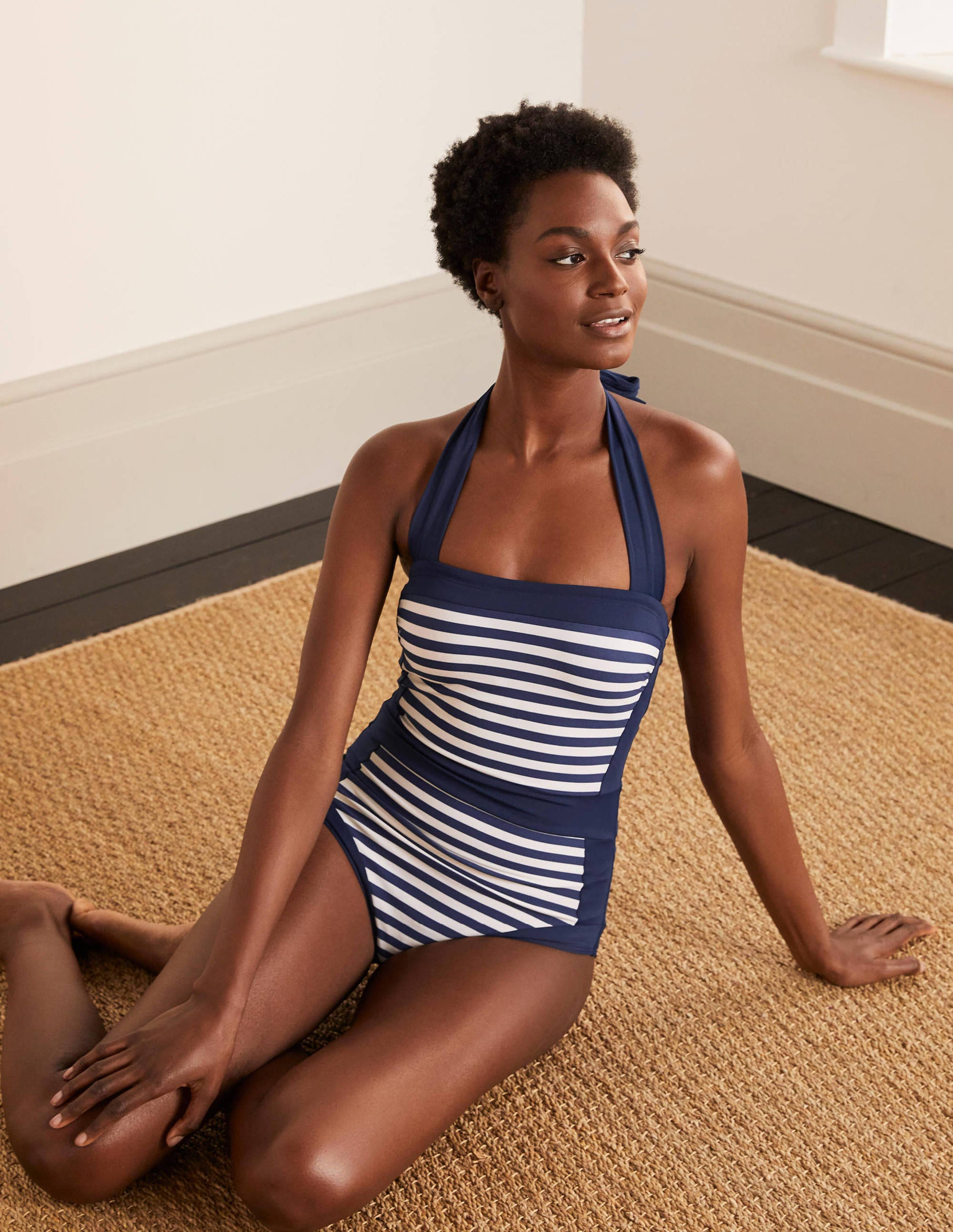 Boden Santorini Swimsuit - French Navy/Ivory Stripe