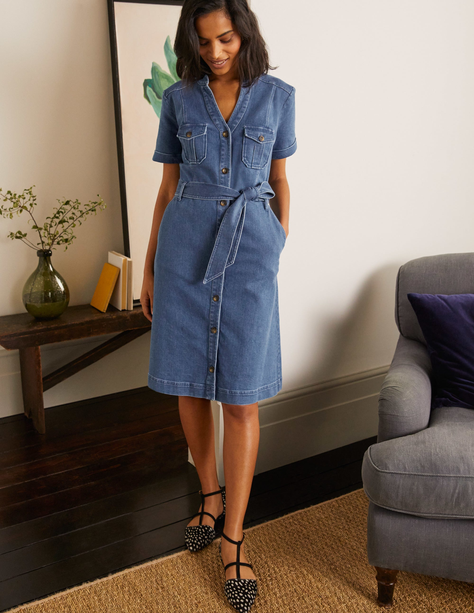 Boden Cecily Shirt Dress - Mid Vintage Denim