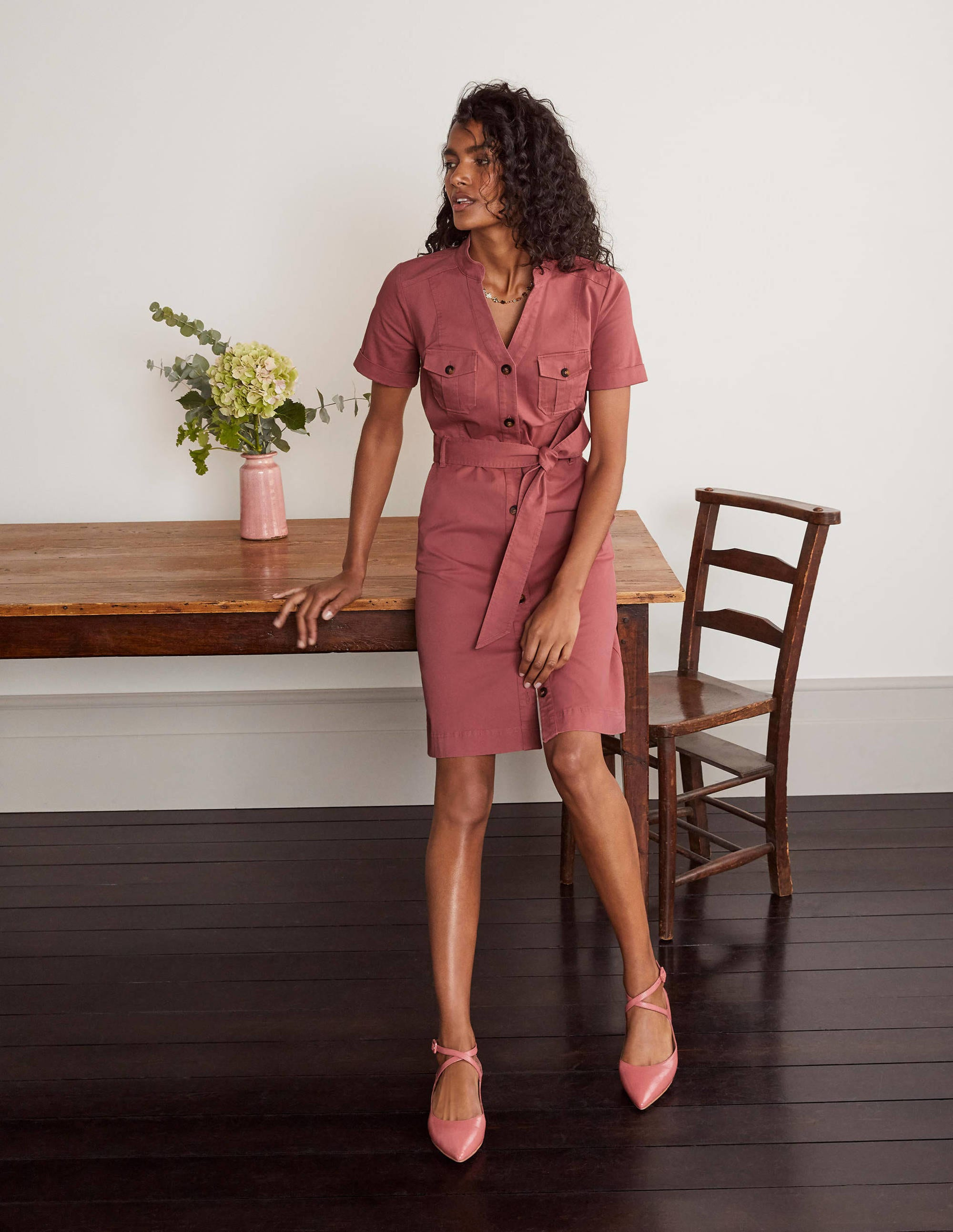 Boden Cecily Shirt Dress - Dusty Rose