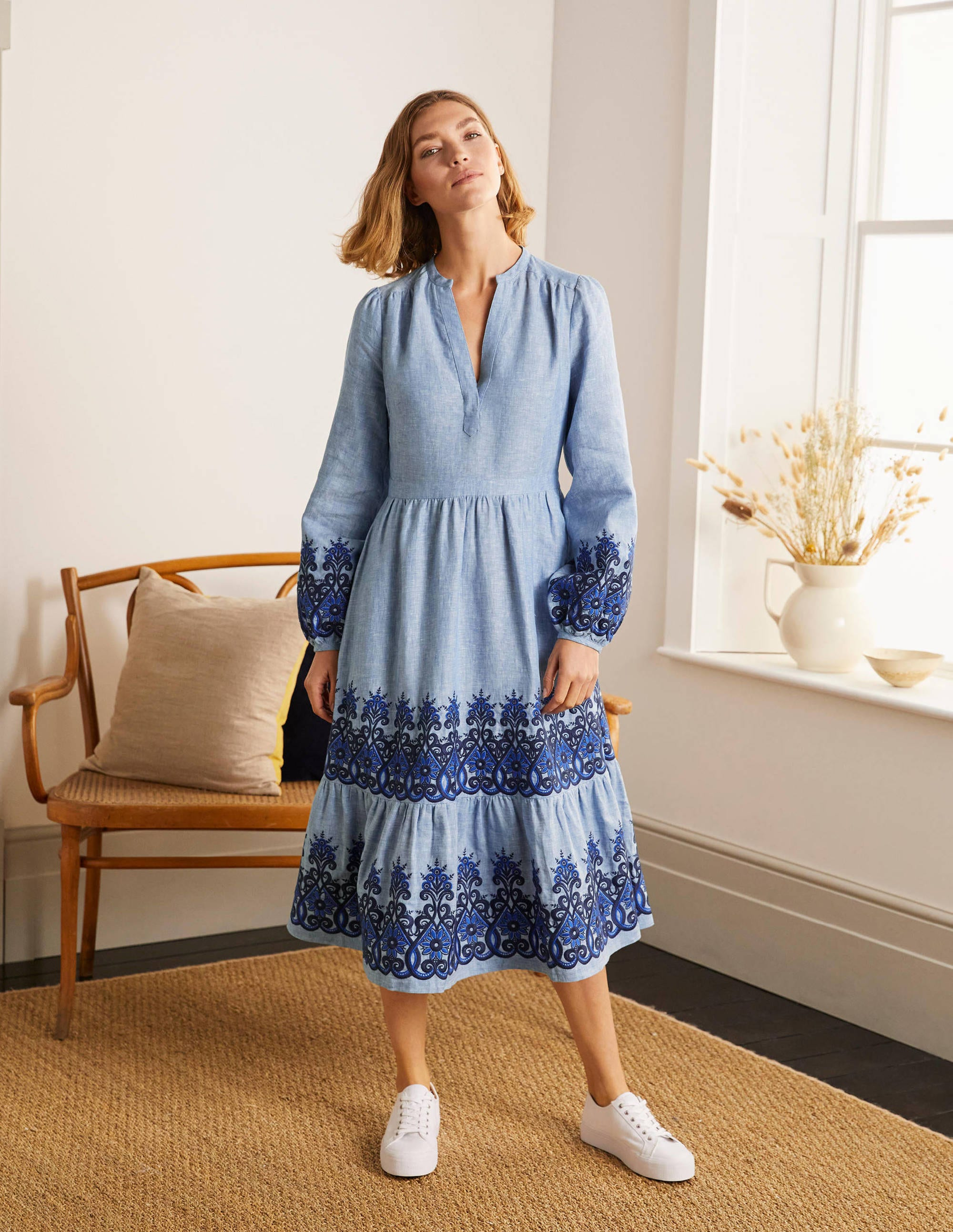 Boden Eden Embroidered Linen Dress - Grey Blue Chambray
