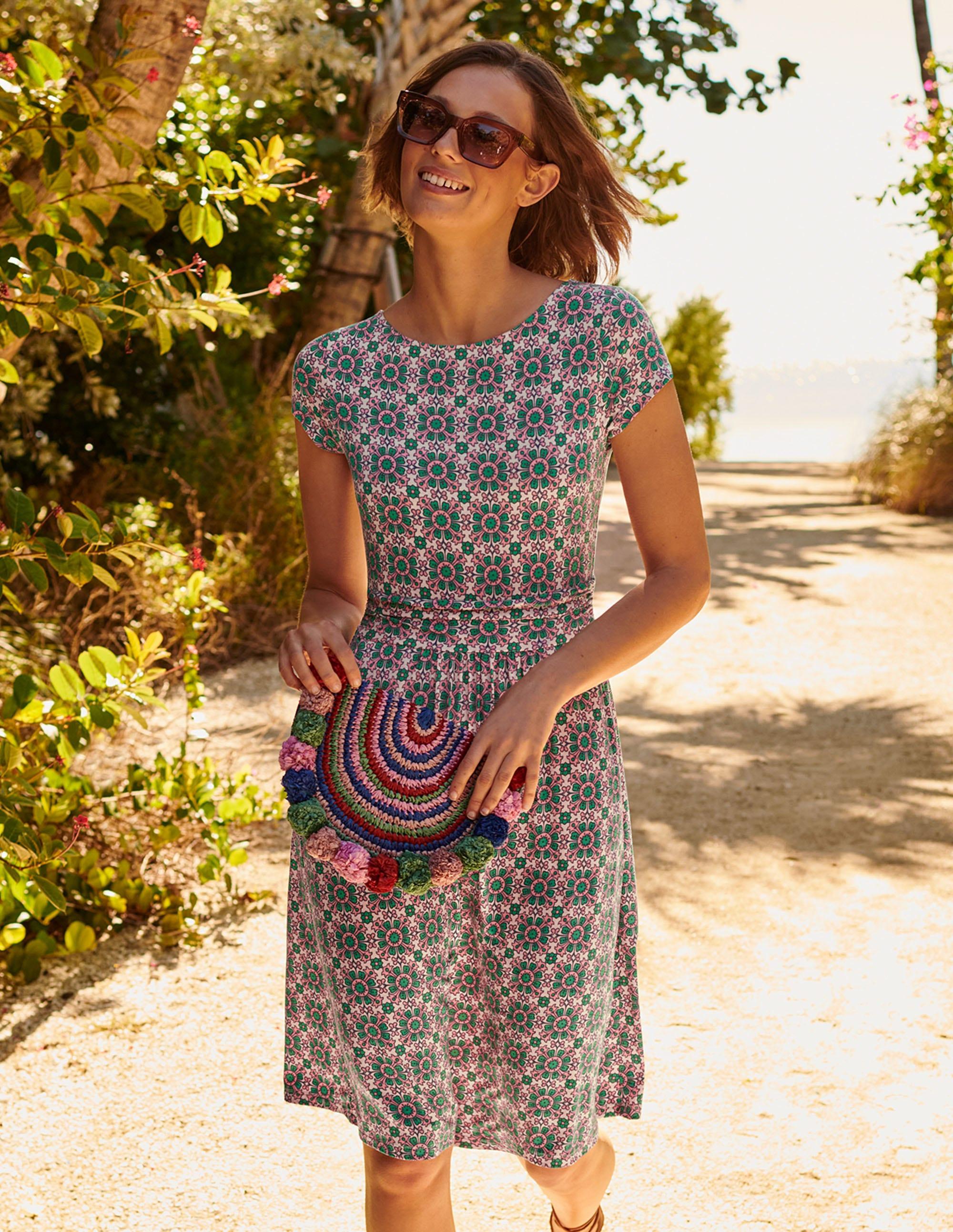 Boden Amelie Jersey Dress - Milkshake, Flora Tile