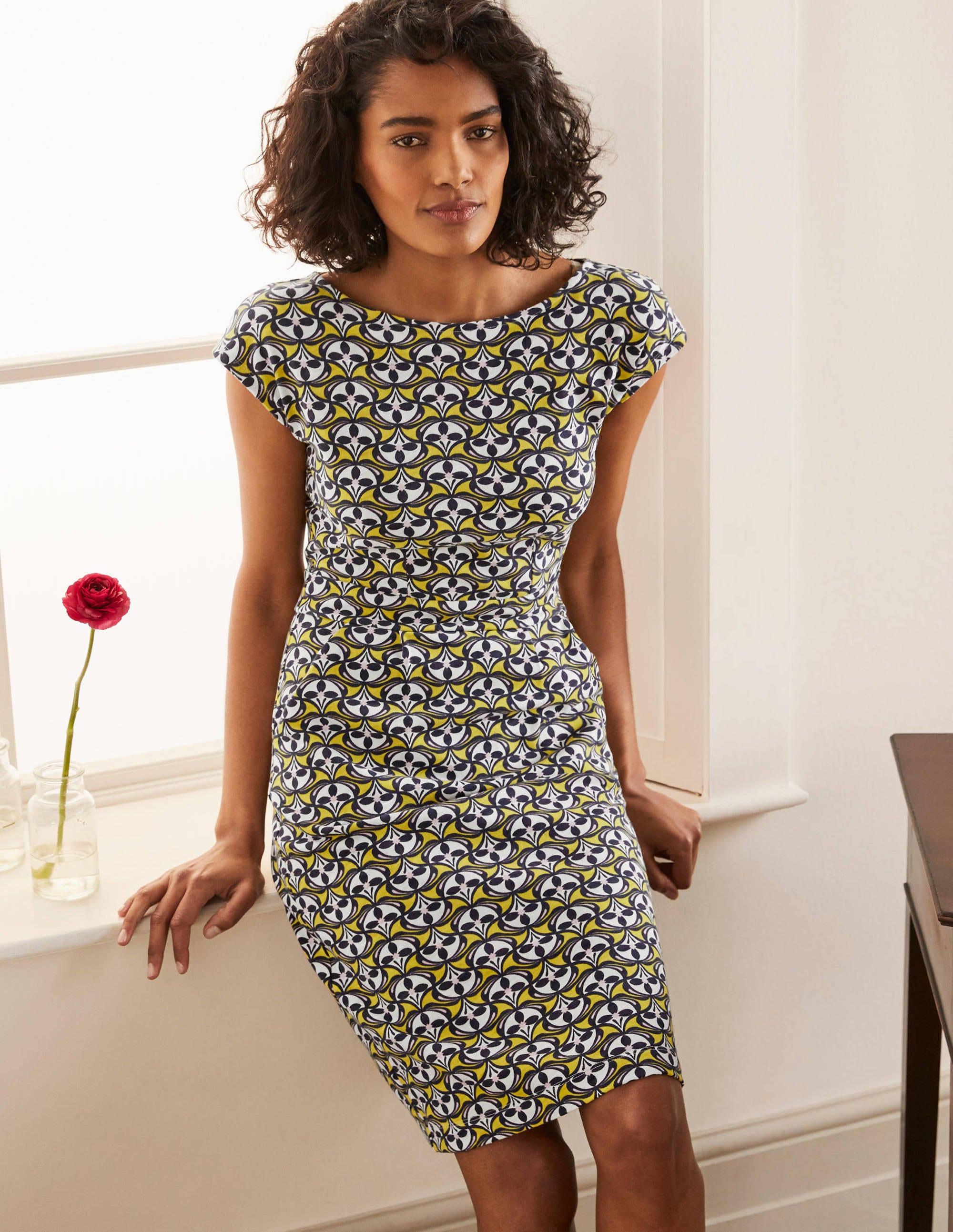 Boden Florrie Jersey Dress - Chartreuse, Floral Fan